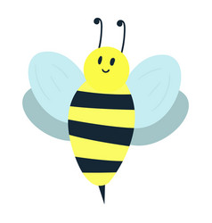 Cartoon sweet yellow bee summer worker bug with vector