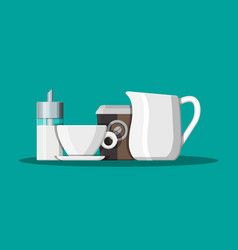 coffee on saucer milk jug sugar dispenser vector image