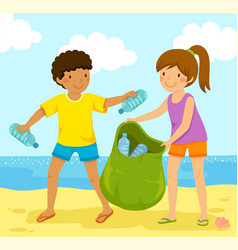 collecting plastic bottles at beach vector image