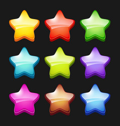 colored cartoon stars shiny games crystal icons vector image