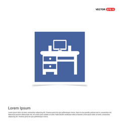 computer table icon - blue photo frame vector image