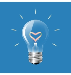 Concept of love in the form of light bulb on a vector
