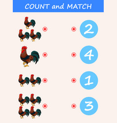 Count and match animal rooster vector