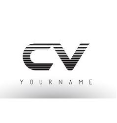 Cv c v black and white horizontal stripes letter vector