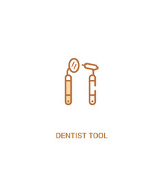 dentist tool concept 2 colored icon simple line vector image
