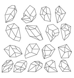 Diamond 3d shapes natural crystals outline gem vector