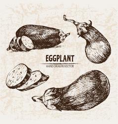 Digital detailed line art eggplant vector