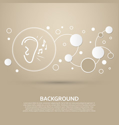 ear listen sound signal icon on a brown vector image