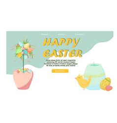 easter landing page template with chicken and vector image