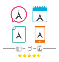 Eiffel tower icon paris symbol vector