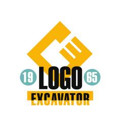 Excavator logo design estd 1965 backhoe service vector