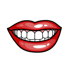 fashion girls lips with red lipstick in cartoon vector image