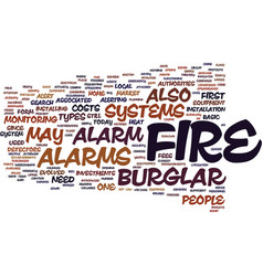 Fire burglar alarm text background word cloud vector