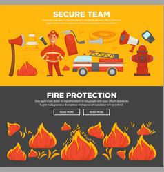 Fire protection and firefighter team of fire vector