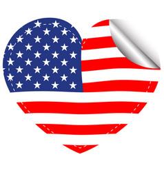 Flag america in heart shape vector