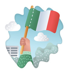 flag of italy in hands vector image