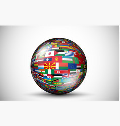 flags all countries in form 3d spheres vector image