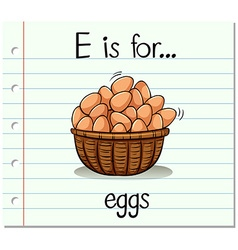 Flashcard letter E is for eggs vector