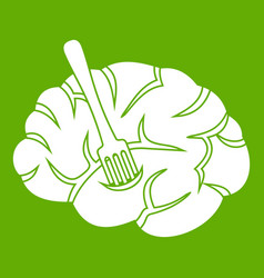 fork is inserted into the brain icon green vector image