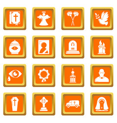 funeral ritual service icons set orange square vector image
