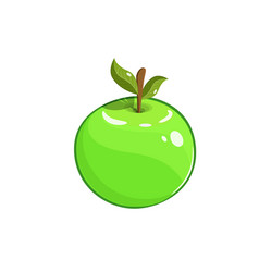 green apple with stem and vector image