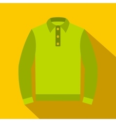 Green long sleeve polo shirt icon flat style vector