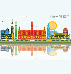 Hamburg skyline with color buildings blue sky and vector