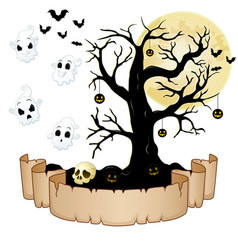 happy halloween banner with empty paper ghosts s vector image