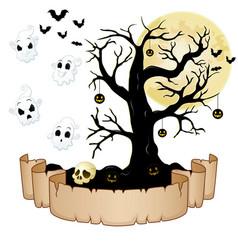 Happy halloween banner with empty paper ghosts s vector