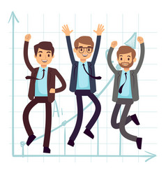 happy jumping business man flat success in vector image