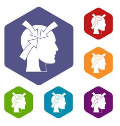 Head with arrows icons set hexagon vector