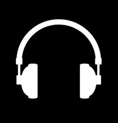 headphones icon on black vector image