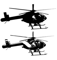 helicopter set in black on white background vector image