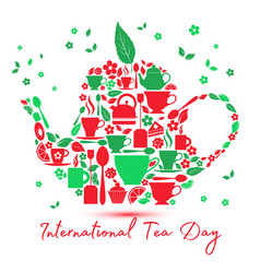 International tea day icon - teapot with the icons vector