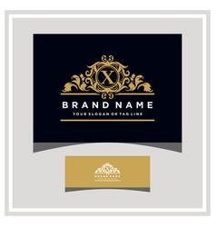 Letter x logo design concept royal luxury gold vector