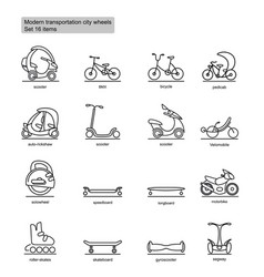 Linear modern city transport icons set vector