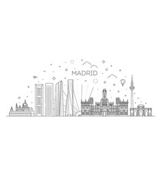 madrid skyline spain vector image