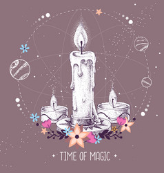 Magic witchcraft taros card with burning candle vector