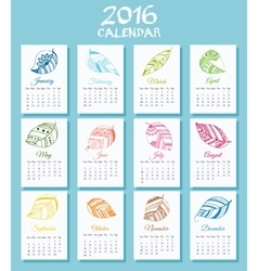 Medical calendar for new 2016 year week starts on vector image