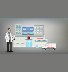 medical doctor in front of hospital concept vector image