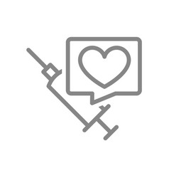 medical syringe and speech bubble with heart line vector image