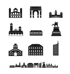 milan italy city skyline icons set simple style vector image