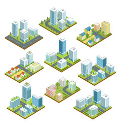 modern downtown isometric 3d set vector image
