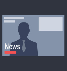 News with man silhouette on dark grey background vector