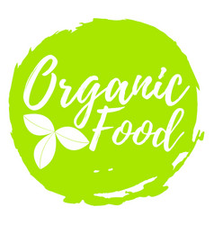 Organic food label font with brush food vector