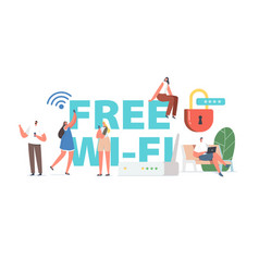 people use free wifi concept young characters vector image