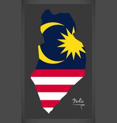 perlis malaysia map with malaysian national flag vector image