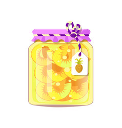 Pineapple fruit conservation in decorated jar vector