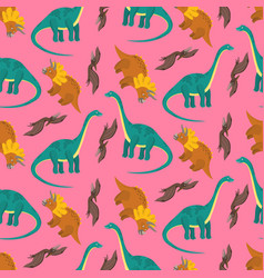 pink dinosaurs pattern for kids textile vector image