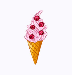Pink ice cream and red berry isolated on white vector
